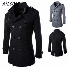 Wholesale Men Double Breasted Coat Sale - Wholesale- AILOOGE 2016 Hot Sale Solid 40% Wool Coat Men Casual Slim Fit Double Breasted Spring Autumn Trench Coat Men (Asian Size)