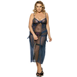 Wholesale Plus Size Exotic Lingerie - Europe and the United States women's lace embroidery front opening sexy long nightgown plus-size exotic lingerie wholesale