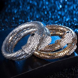 Wholesale Multi Ply - Punk snake bracelet flash crystal gold silver bracelet for women and men fashion jewelry multi-ply diamond bangle charm bracelets Party