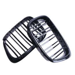 Wholesale Bmw E39 Grille - 1set New Style Double 2 Line Gloss Black Front Grill Kidney Grille For BMW E39 5 Series 525 535 M5 97-03 Car Accessory #P239