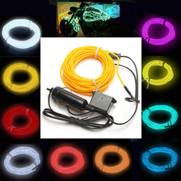 Wholesale Cigarette Lighter Led Lamp - Wholesale-1M 2M 3M 5M Car Cigarette Lighter Socket Plug Neon Light Car Decor Light Neon LED lamp Flexible EL Wire Rope Tube LED Strip