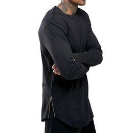Wholesale Arc Red - New Trends Men T shirts Super Longline Long Sleeve T-Shirt Hip Hop Arc hem With Curve Hem Side Zip Tops tee