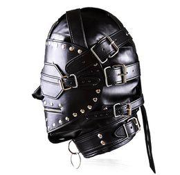 Wholesale Sm Mask Sex - Black patch design Leather Headgear Adult Masks with zipper padlock SM Bondage sex toys hot sell