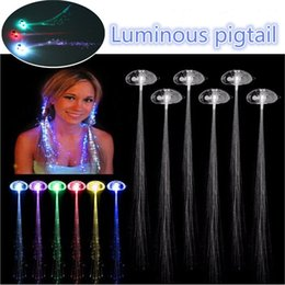 Wholesale Glow Hair - Luminous Light Up LED Hair Extension Flash Braid Party girl Hair Glow by fiber optic For Party Christmas Halloween Night Lights Decoration