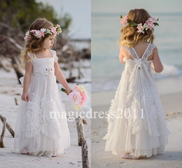 Wholesale Christmas Caps For Kids - Gorgeous White Flower Girls' Dresses For Wedding 2016 Square Lace Ruffles Kids Formal Wear Sleeveless Long Beach Girl's Pageant Gowns
