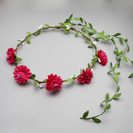 Wholesale Daisies Flowers For Headbands - Women and Girls Hairbands Artificial Flower Daisy Cloth Headbands Hair Accessories With Leaves For Bride Wedding Headdress