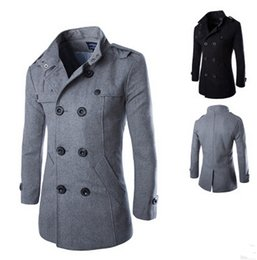 Wholesale Mens Wool Coats Style - 2017 Casual Double Breasted Coat Men British Style Stand Collar Slim Fit Long Trench Coat Men Mens Wool Pea Coat Manteau Homme