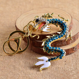 Wholesale Chinese Dragon Pendant Wholesale - Wholesale New Zodiac Chinese Long Dragon New Cute Crystal Charm Pendant Purse Bag Car Key Ring Chain Wedding Party Creative Gift J1369
