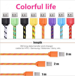 Wholesale Galaxy Grand Charger - 1M 2M 3M Fabric Nylon Braided Micro USB Cable Charging Cord Charger Cable for Samsung Galaxy S3 S4 S6 J5 Note 2 Grand prime LG