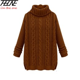 Wholesale Vintage Long Sweater Coat - Wholesale-Fashion Women Cotton Autumn Winter Vintage Pullovers Loose Sweater for Women Thicken Computer Knitted Casual Warm Outwear Coat
