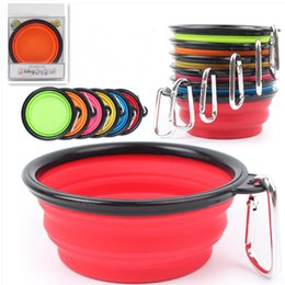 Wholesale Pet Expandable Bowl - Silicone Folding dog bowl Expandable Cup Dish for Pet Cat Food Water Feeding Portable Travel Bowl portable water bowl with Carabiner