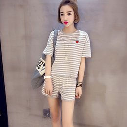 Wholesale korean sleepwear - Wholesale- hot sale 2017 new summer Korean pajamas summer short-sleeved shorts cotton women stripes sleepwear home clothing suit