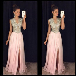 Wholesale See Through Bodice Prom Dresses - 2017 Beautiful Pink Long Prom Dress With O Neck Beaded Crystal Bodice See Through Tulle Skirt Side Slit Evening Party Gowns