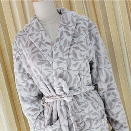 Wholesale Cotton Robes Wholesale - Foreign Trade European Original Single Robe Bathrobe Men's Women's Winter High Archives Leaf Long Fund Coral Down Home Furnishing Pajamas