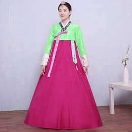 Wholesale Green Carnival Costumes For Sale - Hot sale Green Long Sleeve Jacket Rose Red Skrits Floor-Length Traditional Korean Hanbok Dresses Palace Stage Dance Show Costume For Women