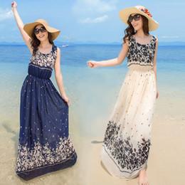 Wholesale Long Style Bohemia Dress - Sleeveless Dress Summer Style Floral Print Maxi Dresses Women Beach Club Casual Loose Chiffon Sleeveless O Neck Long Elegant Bohemia Dress