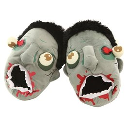 Wholesale Head Winter Shoes - Wholesale Soft Plush Zombie Head Slippers Funny House Shoes Couple Family Shoes Housewear(One size fits most)