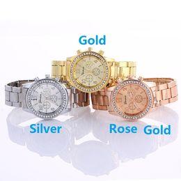 Wholesale Tungsten Watch Diamond - Wholesale women geneva metal steel alloy watch fashion luxury ladies dress quartz diamond Analog gift mens watches 3 colors