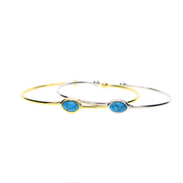 Braccialetto aperto turchese online-open adjust size 58-60mm classic simple bangle design single turquoise gemstone 18k gold open cuff bangle bracelet