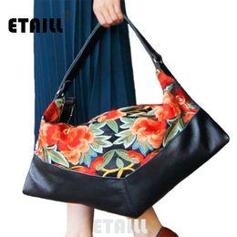 Бохо сумки оптом онлайн-Wholesale- National Ethnic Boho Thai Embroidery Leather Bags Women  Logo Embroidered Hobo Bag Floral Handbags Sac a Dos Femme