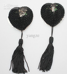 Wholesale Sequin Nipple Tassel - Sexy Sequin Nipple Covers with Tassel Heart Shaped Breast Nipple Covers New Fashion Sexy Pasties Black 1 Pair