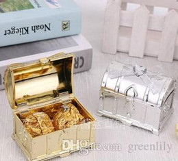 Wholesale Treasured Chests Gift Boxes - Treasure Chest Favor Box Wedding Gift Boxes Candy Box Gold and Silver Box for Wedding Baby Birthday Party