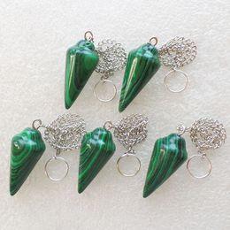 Wholesale Malachite Men - YZ86 5pcs man-made Malachite pendulum Pendant Bead Random send