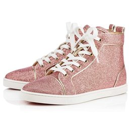 Wholesale Gingham Style - High Quality Women,Men High Top Sneaker Shoes Glitter Leather Casual Walking Shoes,France Style Red Bottom Shoes Party Dress Trainer Footwea