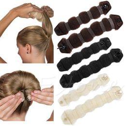 Wholesale Bun Shaper - Wholesale- 2PCS Hair Styling Sponge Magic Donut Bun Maker Former Ring Shaper Styler Tool