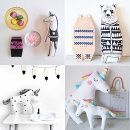 Wholesale Kids Decorative Pillows - INS Baby Unicorn Stuffed Toys Cute Rainbow Licorne Pillow Animal Shaped Doll Decorative Bedding Pillows for Kids Room Christmas Gifts