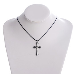 Wholesale Long Tooth Necklace - 1PC Black Leather Cord Eiffel Tower Wolf Tooth Cross Pendant Necklace For Men Women Vintage Style Long Necklace