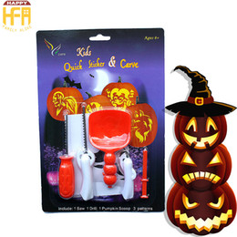 Wholesale Toy Pumpkins - Pumpkin Carving Kit Kids Halloween Sticker Pumpkin Lantern Carved Toy DIY Kids Lantern Carving Knife Set 5Pcs Set Wholesale