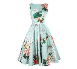 Wholesale Cheap Wear Work Dresses - New Cheap Vintage Dresses with Sash Fashion A Line Mid-Calf Sleeveless Casual Dresses Summer Beach Floral Printed Women work dress Wear