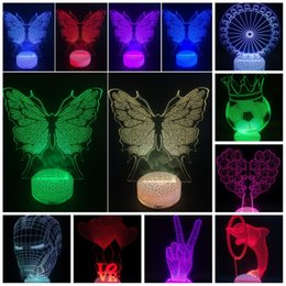 Wholesale Led Color Butterfly - 3D LED Night Lights Color Changing Lighting Touch Lamps Love Heart Tree Butterfly Dolphin Gift for Bedroom Light Cube Nightlight Home Decor