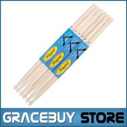 Wholesale wholesale drum kits - Wholesale-Wholesale 12 pairs 5A Drum Sticks , White Birch Wood 96g per Pair , Free Shipping