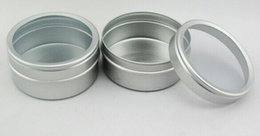 Wholesale metal cans lids - Wholesale- 50pcs 40g empty skin care cream aluminum containers with window cap 50ml metal bottle tin pot can metal aluminum jar window lid