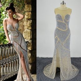 Wholesale Neck Jewellery - 2016 Rami Salamoun Beaded Evening Dresses Luxury Jewellery Rhinestones Sheer Jewel Corset Mermaid Floor Length Real Images Celebrity Dresses
