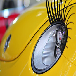 Wholesale Automotive Cartoons - Car Cute Eyelash Automotive Eyelashes Eyeliner 3D Car Logo Sticker Stereo Car Headlight Decor Free Shipping