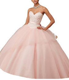Wholesale Beads For Waist - 2018 Women Sweetheart Quinceanera Dresses With Appliques Beadings Ball Gown Waist Ribbon Bow Debutante Gowns Prom Dresses for Sweet 15 Party