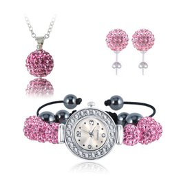 Wholesale Shamballa Bracelet Watch Set - New 10mm Balls Watch Shamballa Set Crystal Earrings Necklace Pendant Bracelet Chinese Jewelry Sets Mix Colors Options SHLSTUmix1