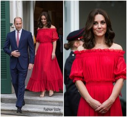 Wholesale Vintage Off Shoulder Maxi Dress - Catherine Duchess Kate Middleton Inspired Red Carpet Dresses 2017 The Queen's Birthday Party Off-the-shoulder Red Maxi Formal Evening Dress
