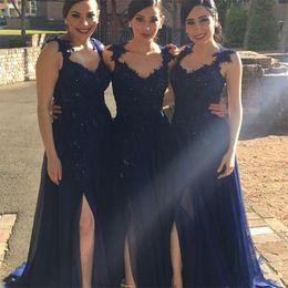 Wholesale Long Bridesmaid Dresses Slit - Vestido Madrinha 2017 Sexy Navy Blue Long Chiffon Bridesmaid Dresses With Straps Lace Appliques Side Slit Wedding Guest Party Gowns Cheap