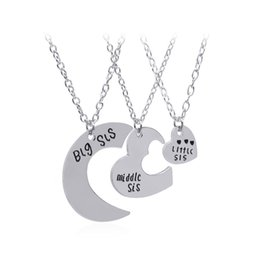 Wholesale New Big Sister - new hot Little Middle Big Sister love stitching necklace
