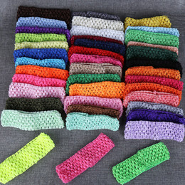 Wholesale Babies Beautiful Crochet - Wholesale- Newborn Infant baby Girl 1 pc 41 colors vintage beautiful Stretchy Elastic Crochet Headband headwear hairwear hair bow