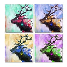Wholesale Texture Abstract Panel Paintings - 4 Panels HD Colorful Deer Acrylic Painting Prints Animal Texture Painting Giclee Art Print Unframed Living Room Decor Free Shipping