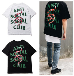 Wholesale Club Shirts Women - Summer Hot T shirts 2017 Vlone FRIENDS Anti Social Social Club Printed loose Men women tee Kanye High street Hip hop cotton loose streetwear