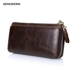Wholesale Function Notes - Wholesale- GENODERN New Long Purses for Men Genuine Leather Men Wallets with Multi Card Holders Brown Cowhide Function Men's Clutch Wallets
