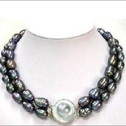 Wholesale strands tahitian black pearls - CLSSIC DOUBLE STRANDS TAHITIAN 10-13mm BLACK MOTHER PEARL NECKLACE 17-18inch