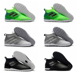 Wholesale Gold Shoes For Boys - 2018 original ace 17 indoor soccer cleats Tango 17+ Purecontrol TF IC boys football boots turf soccer shoes for kids Turbocharge Pack black
