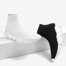 Wholesale Top Quality Slip Boot - Double Box Boots Socks Black White Speed Trainer Woman Shoe Man Casual Boots High Quality Stretch-Knit High Top Trainer Shoes Cheap Sneaker